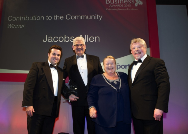 Thady Senior (Marketing Manager, Jacobs Allen), Tim Meadows-Smith (Chairman, The Portcullis Group), Sheila Burke (Director, Jacobs Allen) & Simon Weston (Veteran of the British Army, Falklands War)