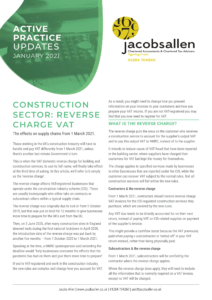 Construction Sector: Reverse charge VAT
